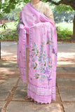 Elegant Linen dupatta with Aari work