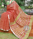 Elegant Mangalgiri Cotton Saree with zari checks and border