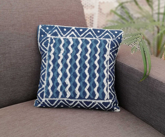 Dabu Hand Block Printed Cotton Cushion Cover  ( set of 2)