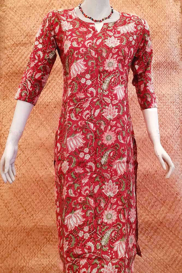 Elegant Cotton  Kurta with Running Kantha Stitch