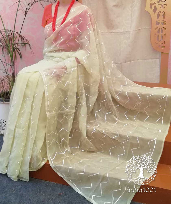 Beautiful Chiffon Saree with gota work