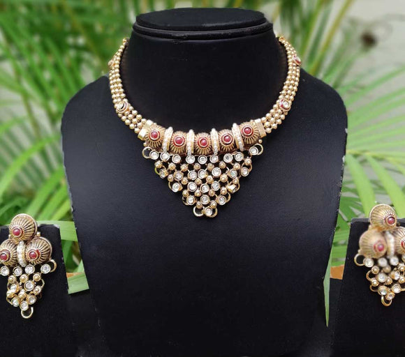 Designer Polki & Pearl Necklace Set
