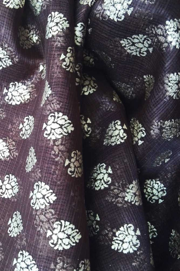 Gold Block printed Kota Silk Fabric
