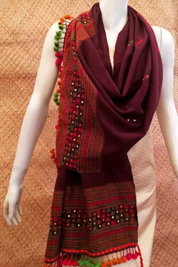 Kutch Woolen Stole with Mirror work and tassels