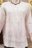 Elegant Cotton Short Kurta with Chikankari work - size- 40