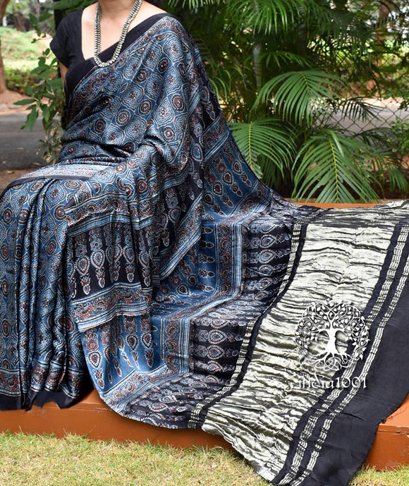 Elegant Hand Block Printed Ajrakh Modal Silk Saree with Tissue Palla