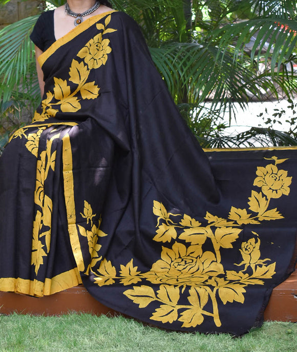 Hand Crafted Bisnupur Silk Saree with Wax Batik art work