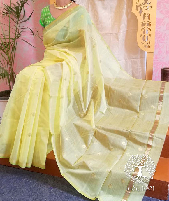 Woven Chanderi Saree with Meena booti and contrast blouse