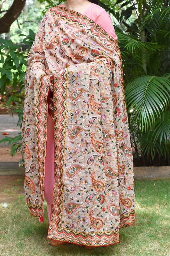 Georgette dupatta with Heavy embroidery & sequins