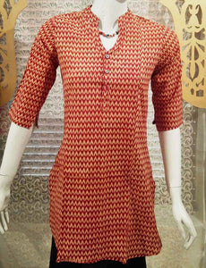 Elegant Block Print Cotton Medium Length Kurta - Size -36
