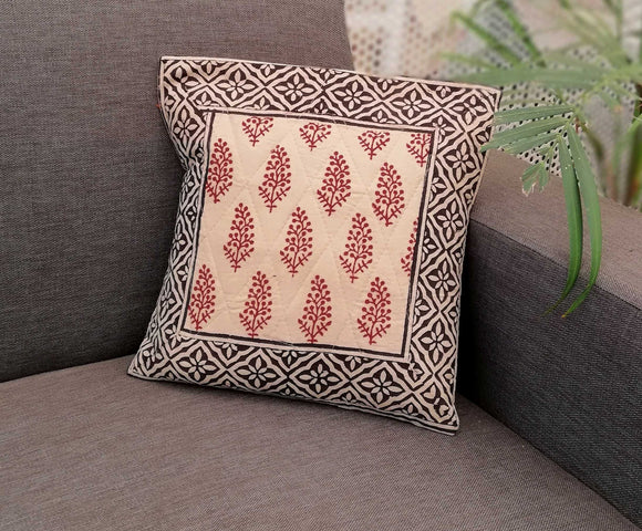 Bagru Hand Block Printed Cotton Cushion Cover ( set of 2)