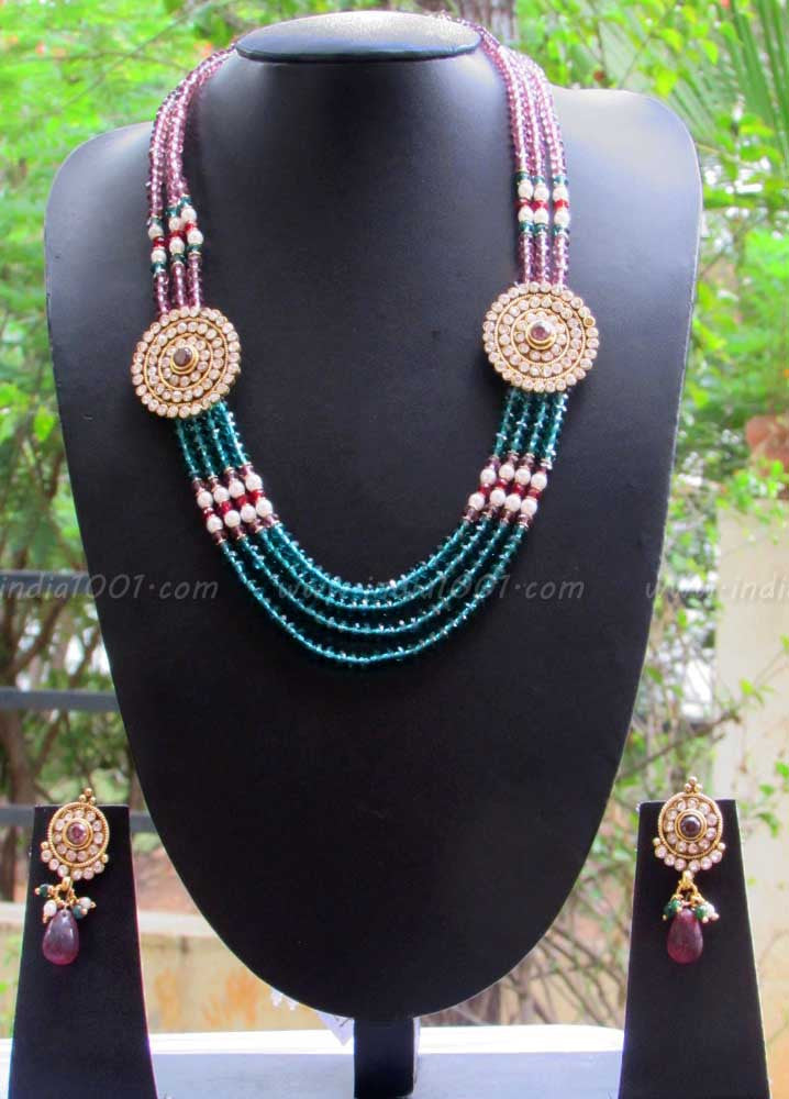 Beautiful Pearl Polki and Beads Mala Set