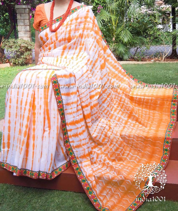 Elegant Soft Cotton Saree with Shibori & Stitched Boders(withoutBP)
