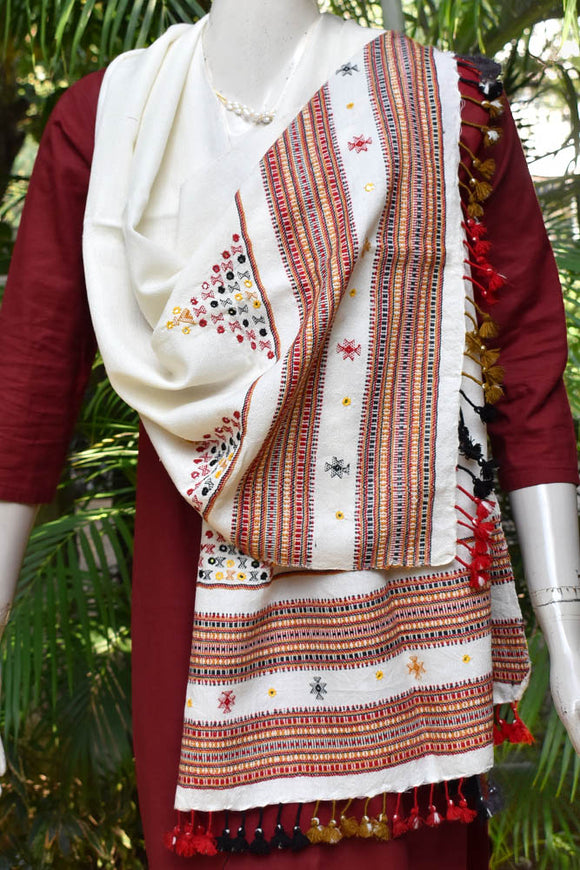 Hand woven Kutch Woolen Stole with Mirror work and tassels