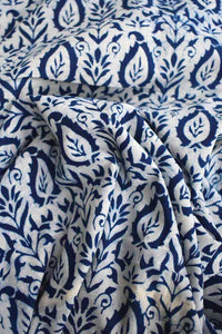 Indigo Block Printed Running Cotton Fabric
