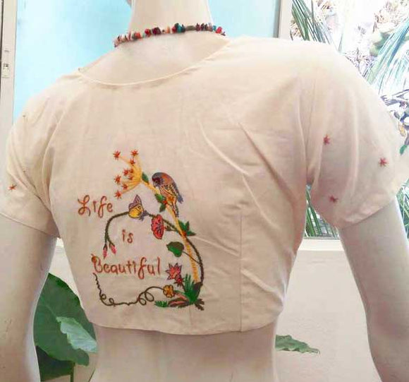 Cotton Blouse with Hand Embroidery - size - 40