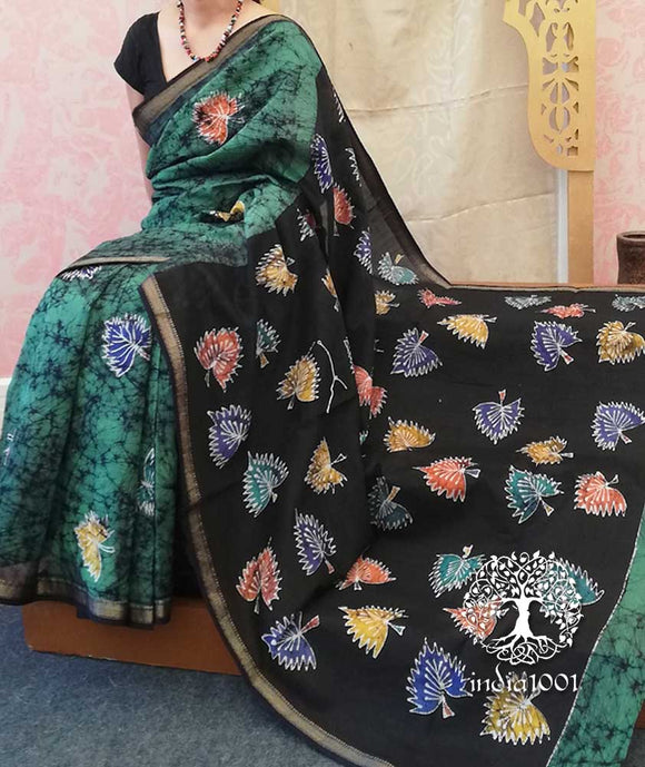 Beautiful Maheshwari Saree with Indonesian Style Batik work