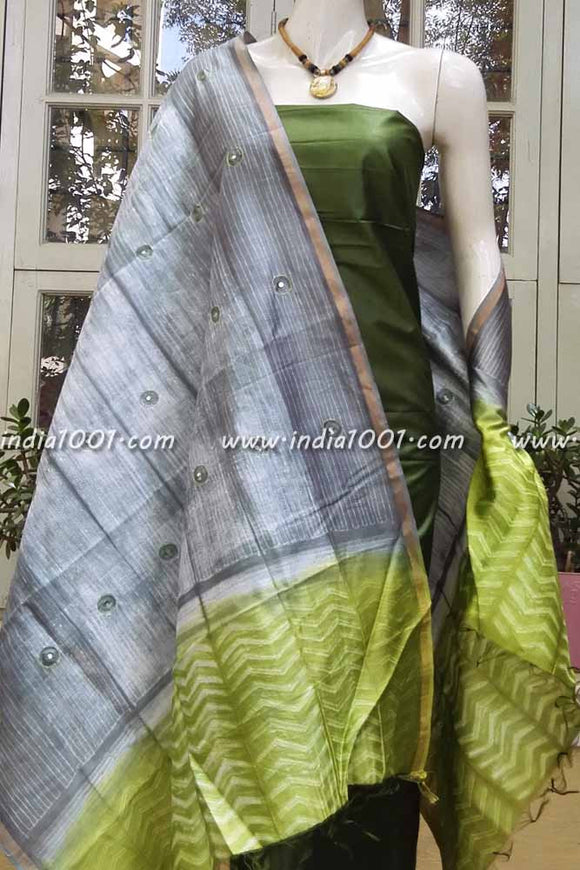 Handcrafted Shibori Chanderi Dupatta with patti work
