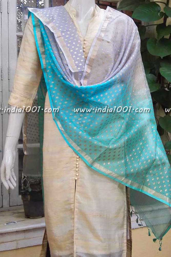 Beautiful Kota Silk Dupatta with Multi dye and Gold block prints