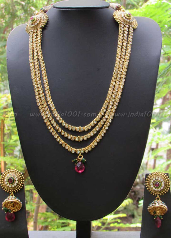 Stunning Long Pearl & Polki Necklace Set