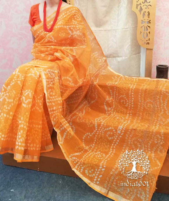 Elegant Hand Tie & Dye Bandhej Kota cotton Saree with Zari border