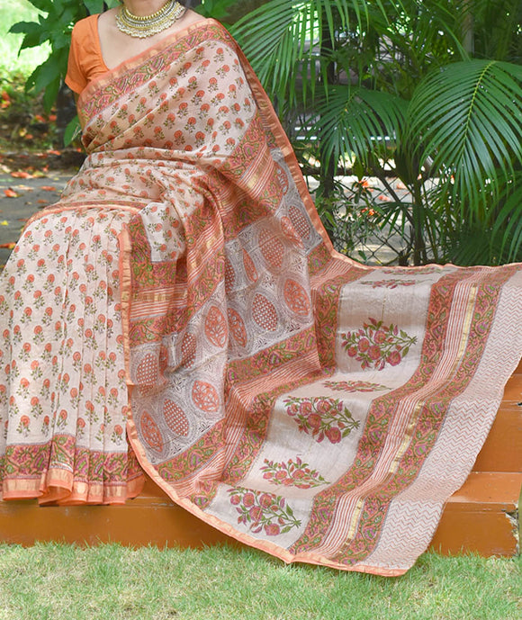 Elegant Chanderi Saree with Hand Block Printing