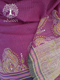 Beautiful Woven Kota saree with Kantha work