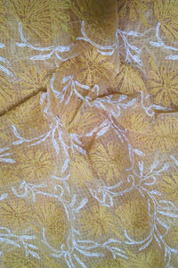 Hand Embroidered Chikankari work Kota Doria fabric
