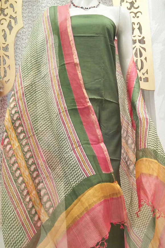 Beautiful Kota Silk Dupatta with Block printed patterns