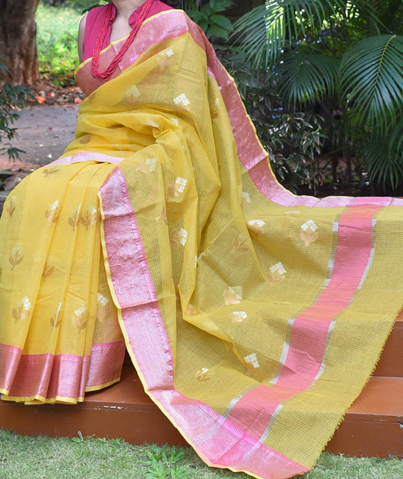 Beautiful Kota Cotton Saree with dual tone bootis