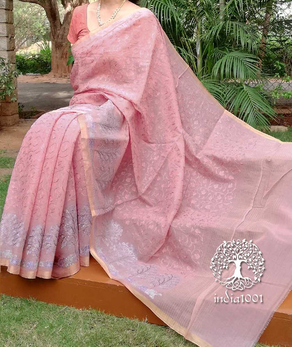 Elegant Chanderi Cotton Silk Saree with embroidery