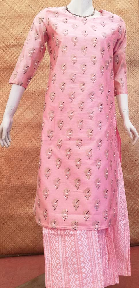 Elegant Block Print Cotton Kurta  & bottom - Size - 38 , 40