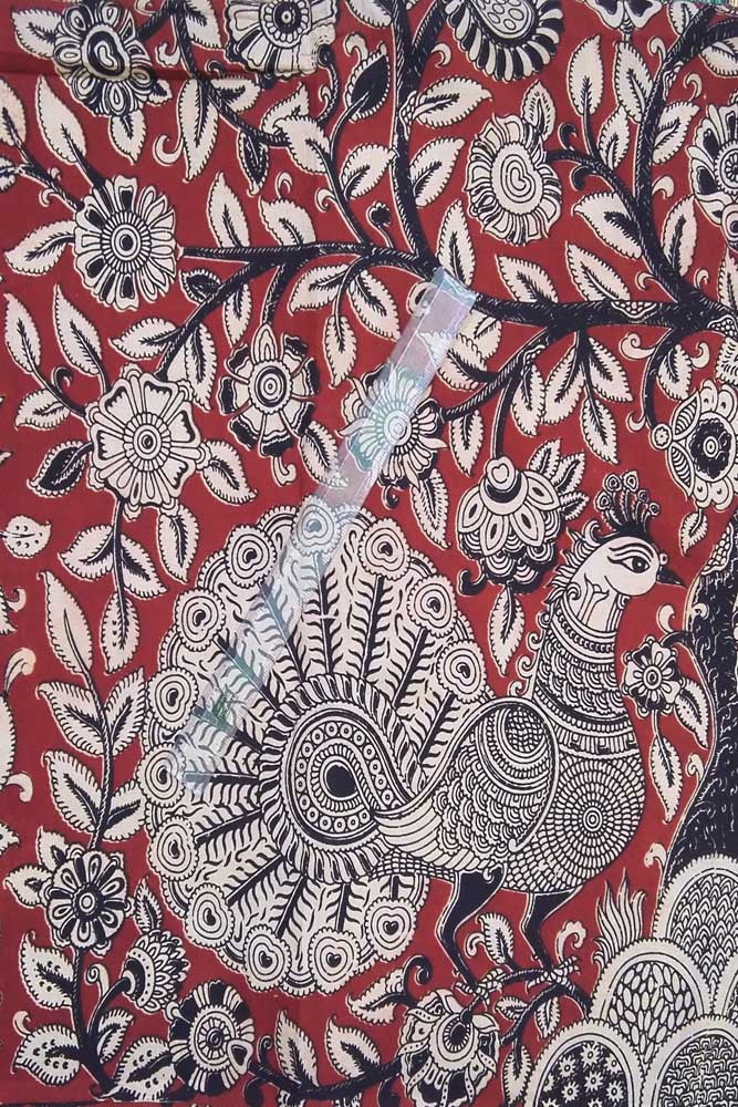 Block printed Cotton fabric with Kalamkari print