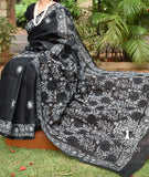 Elegant Kota cotton Saree with Tepchi work / Lucknowi Chikan work ( with BP)