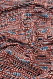 Ajrakh Hand Block Printed Cotton fabric with running Thread(tagai) work - 2.5 mtrs cut