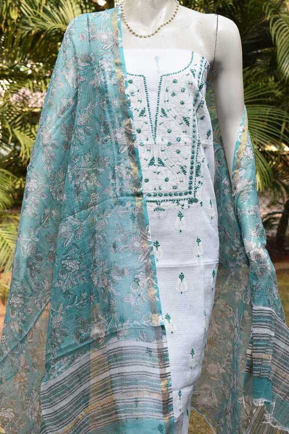 Elegant Kota Kurta with Chikankari work with block printed dupatta & bottom ( 3 pc set)