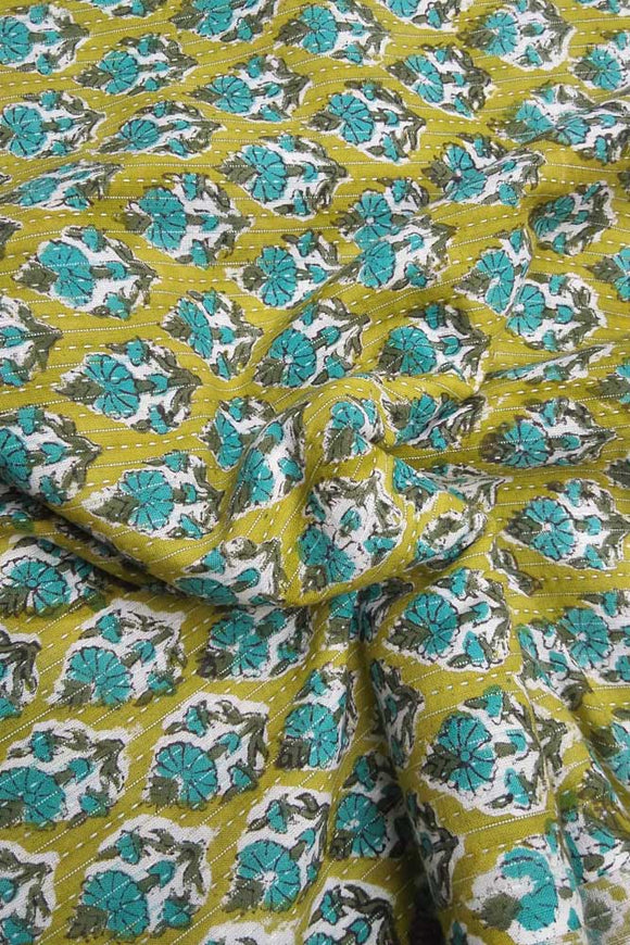 Hand Block Printed Cotton fabric with running kantha stitch