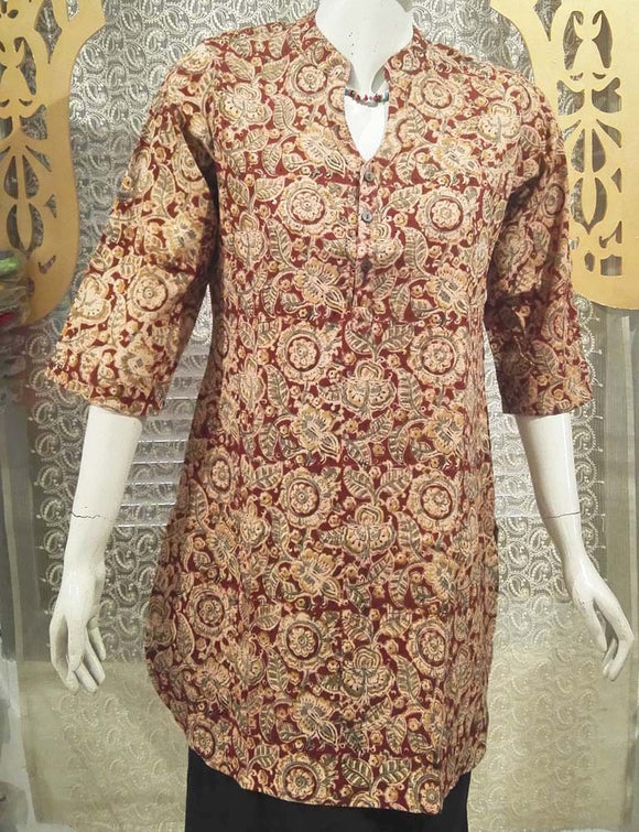 Elegant Block Print Cotton Medium Length Kurta - Size -40