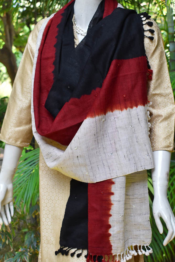 Kutch Handwoven Silk x Wool Stole with Mirror work &  Tassels