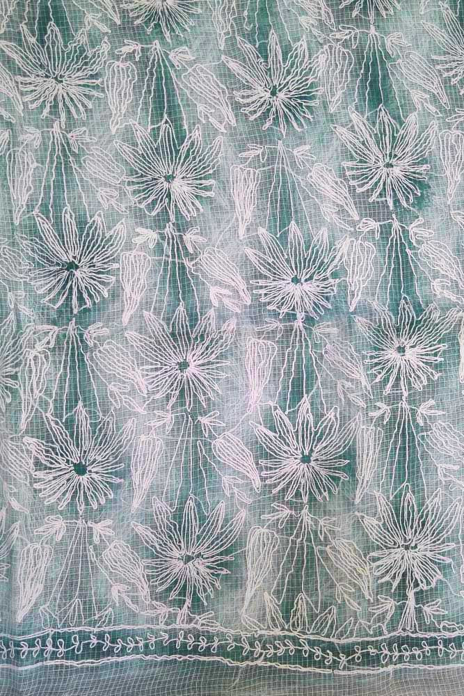 Hand Embroidered & shaded Chikankari work Kota Doria fabric