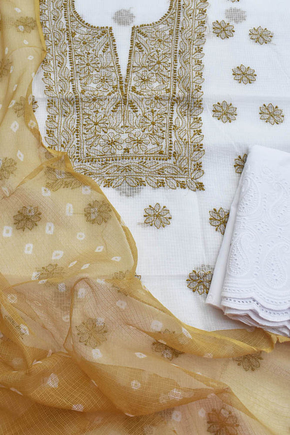 Elegant Kota Kurta with Chikankari,  tie & dye dupatta & schiffli work bottom ( 3 pc set)