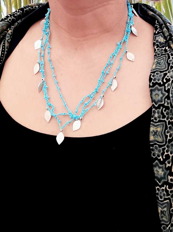 Crochet, Blue beads Necklace ( with earrings)