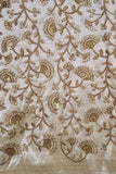 Faux dupion silk fabric with all over embroidery