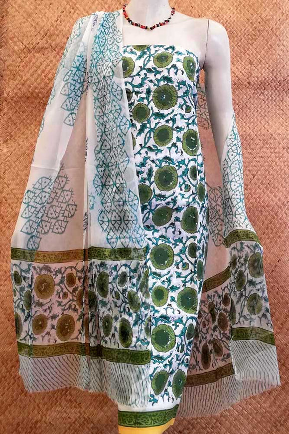 Beautiful Block Printed Cotton  unstitched suit fabric