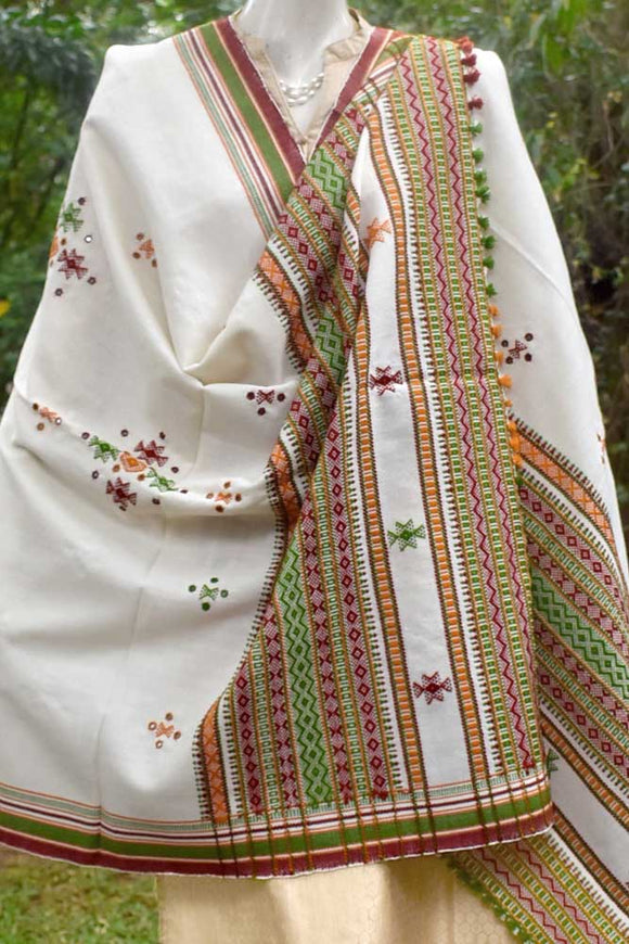 Kutch Handwoven & Hand Embroidered Chomuk Mirror Woolen Shawl