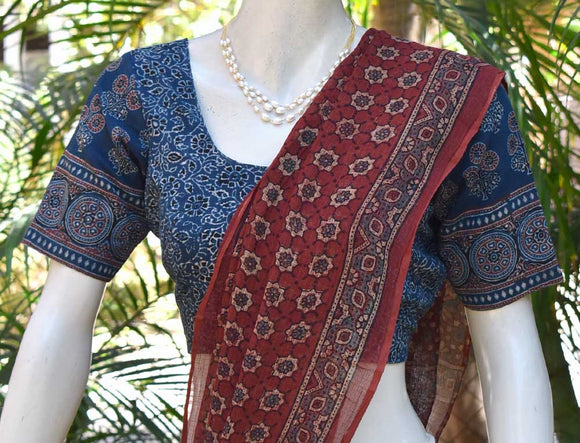 Ajrakh block Printed Cotton Blouse - Size - 38 , 42
