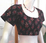 Block Printed Cotton Blouse with sequin work - Size 38, 40