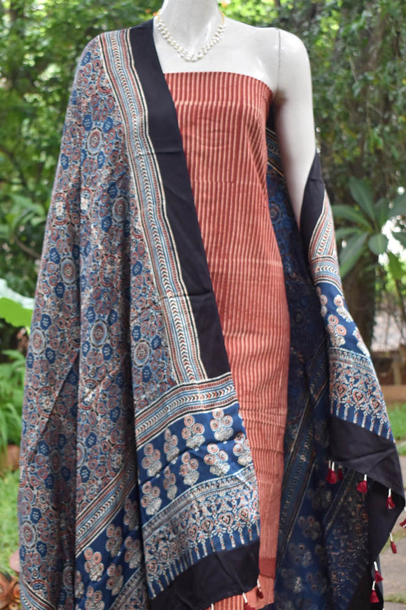 Elegant Block Print Ajrakh Cotton & Modal Silk Unstitched suit fabric