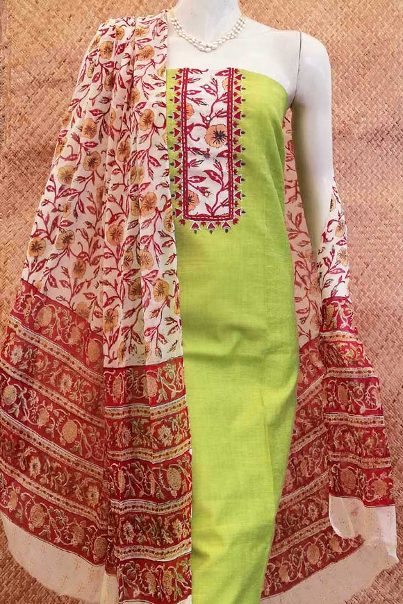 Beautiful  Slub Cotton unstitched suit fabric