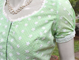 Elegant cotton Blouse with embroidery Lace  - Size 36 , 38 , 40 , 42 , 44